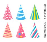 party different hats collection ... | Shutterstock .eps vector #544198063