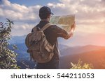 young man traveler with map... | Shutterstock . vector #544211053