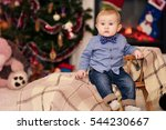 baby toys near the fireplace.... | Shutterstock . vector #544230667