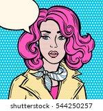 amazed girl  speech bubble. pop ... | Shutterstock .eps vector #544250257