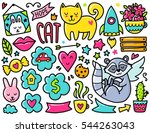 doodles cute elements. color... | Shutterstock .eps vector #544263043