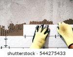 industrial worker installing... | Shutterstock . vector #544275433