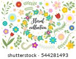 flowers and leaves set. floral... | Shutterstock .eps vector #544281493