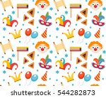 purim seamless pattern with... | Shutterstock .eps vector #544282873