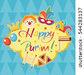 happy purim  template greeting... | Shutterstock .eps vector #544283137