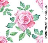 watercolor flower pattern | Shutterstock . vector #544303087