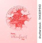 happy valentine day festive... | Shutterstock .eps vector #544309543