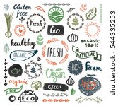 set of hand drawn bio  organic  ... | Shutterstock .eps vector #544335253