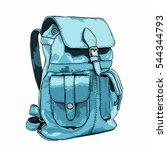 hand drawn vector backpack.... | Shutterstock .eps vector #544344793