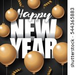 golden happy new year design... | Shutterstock .eps vector #544365883