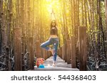 woman relaxing yoga tree pose... | Shutterstock . vector #544368403