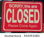 sign of closed business on the... | Shutterstock . vector #544391083