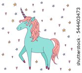 cute vector unicorn   hand... | Shutterstock .eps vector #544403473
