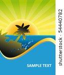 tropical island sunset... | Shutterstock .eps vector #54440782