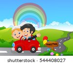 just married couple driving a... | Shutterstock .eps vector #544408027