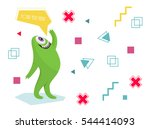 funny monster waving his hand.... | Shutterstock .eps vector #544414093