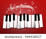 piano keys. music notes and... | Shutterstock .eps vector #544418527