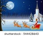 santa claus rides reindeer... | Shutterstock . vector #544428643
