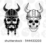 skull in a viking helmet set ...