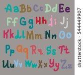 vector hand drawn alphabet.... | Shutterstock .eps vector #544449907