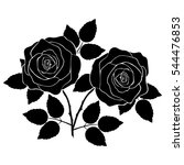 silhouette of rose on a white... | Shutterstock .eps vector #544476853