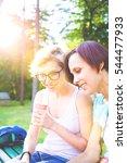 two young women having fun in... | Shutterstock . vector #544477933