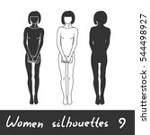 different women silhouettes.... | Shutterstock .eps vector #544498927