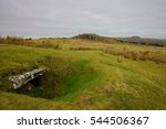 Small photo of Rillaton Cist and Barrow, in 1837 a gold corrugated cup and several other items were found here, the Cheesewring and Sharp Tor can be seen in the distance, Bodmin Moor, Cornwall, England, UK