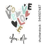 valentines card letters and... | Shutterstock .eps vector #544507687