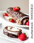 chocolate roulade cake with... | Shutterstock . vector #544531813