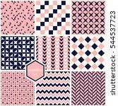set. seamless geometric... | Shutterstock .eps vector #544537723
