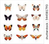 various patterns of butterflies ... | Shutterstock .eps vector #544581793