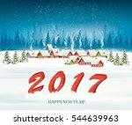winter village night new year... | Shutterstock .eps vector #544639963