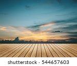 perspective wood floor brown... | Shutterstock . vector #544657603