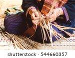 Eldery Thai Woman Weaving The...