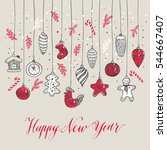 new year's toys hand drawn... | Shutterstock .eps vector #544667407
