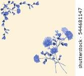 watercolor floral decoration.... | Shutterstock . vector #544681147