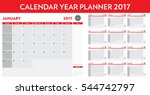 calendar year planner 2017 | Shutterstock .eps vector #544742797