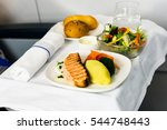 tray of food on the plane ... | Shutterstock . vector #544748443
