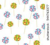 caramel striped candy on sticks ...   Shutterstock .eps vector #544763377