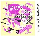 hipster crazy doodle monster... | Shutterstock .eps vector #544763563