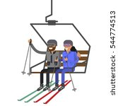 people rise to the ski lift... | Shutterstock .eps vector #544774513