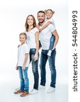 happy family in white t shirts... | Shutterstock . vector #544804993