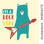 rock star bear vector... | Shutterstock .eps vector #544826173