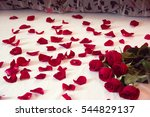 Stock photo bouquet from red roses and his scattered petals on a bed with white sheet and two pillows 544829137