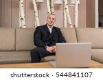 man working from home on laptop ... | Shutterstock . vector #544841107