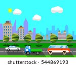 flat design city scape | Shutterstock .eps vector #544869193