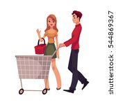 man pushing shopping cart and... | Shutterstock .eps vector #544869367