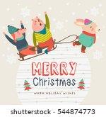happy merry christmas. happy... | Shutterstock .eps vector #544874773