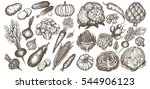 big set of vegetables hand... | Shutterstock .eps vector #544906123